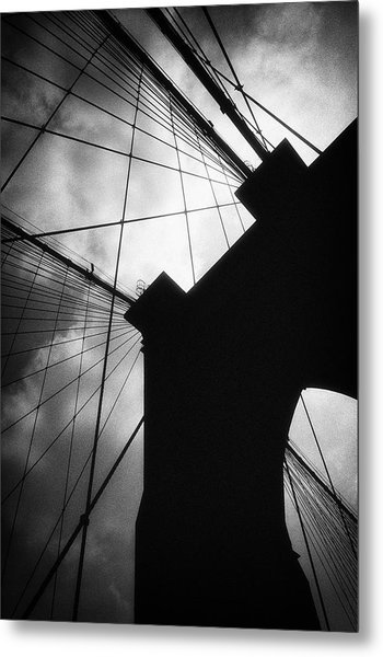 Brooklyn Bridge Silhouette Metal Print