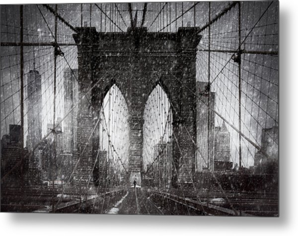 Brooklyn Bridge Snow Day Metal Print
