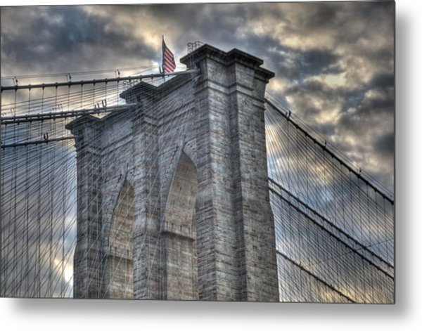 Brooklyn Bridge Tower Metal Print