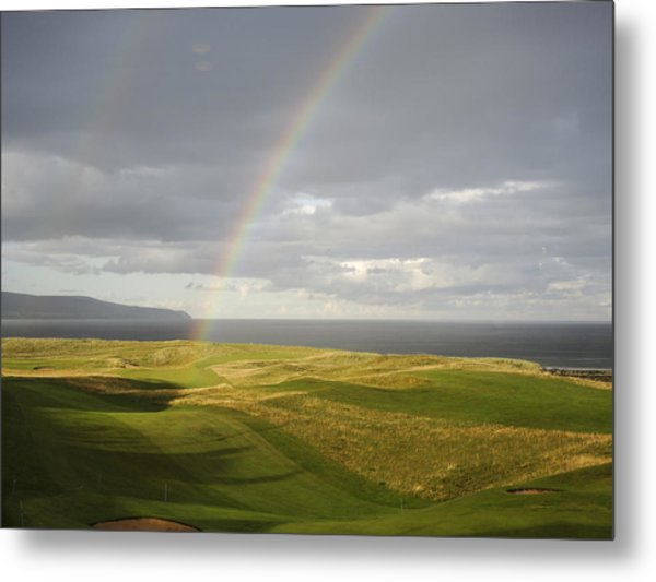 Brora Golf Course Rainbow Metal Print