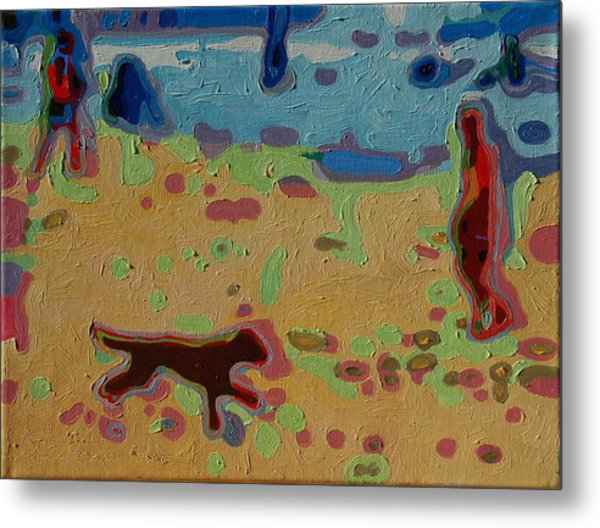 Brown Dog On Beach Metal Print