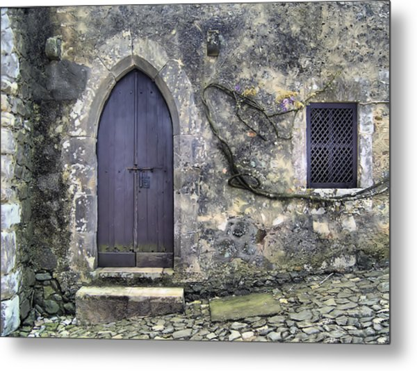 Brown Rustic Wood Door Of Medieval Europe Metal Print