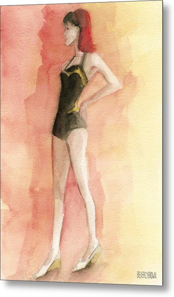 Brown Vintage Bathing Suit 3 Fashion Illustration Art Print Metal Print