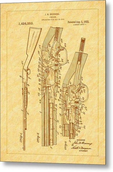 Browning 1922 Firearm Patent Metal Print by Barry Jones