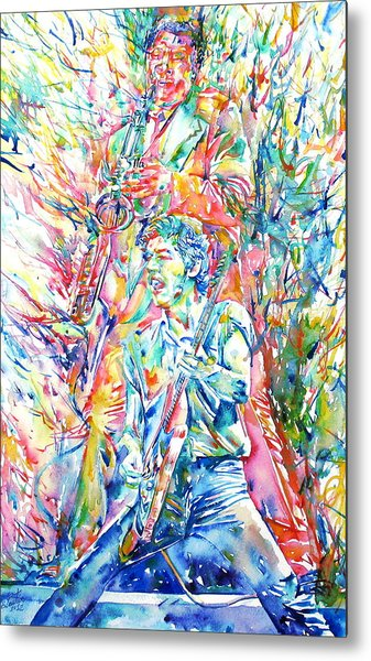 Bruce Springsteen And Clarence Clemons Watercolor Portrait Metal Print