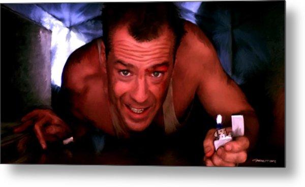 Bruce Willis In The Film Die Hard - John Mctiernan 1988 Metal Print