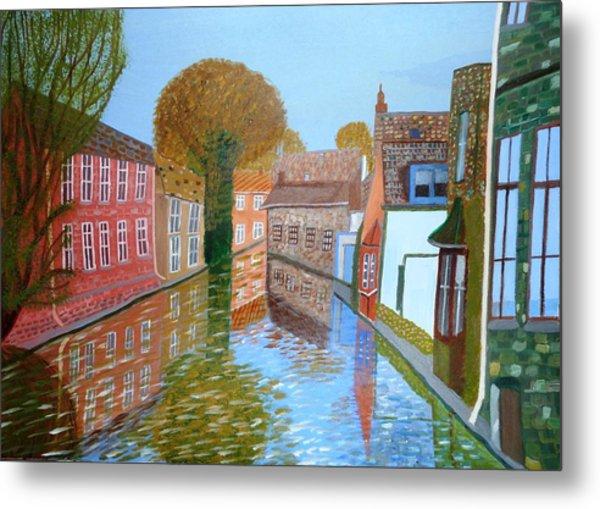 Brugge Canal Metal Print