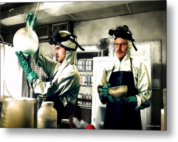 Bryan Cranston As Walter White And Aaron Paul As Jesse Pinkman Cooking Metha @ Tv Serie Breaking Bad Metal Print