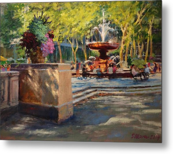 Bryant Park - Afternoon At The Fountain Terrace Metal Print