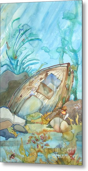 Bubble Ship Wreck Metal Print by Maya Simonson