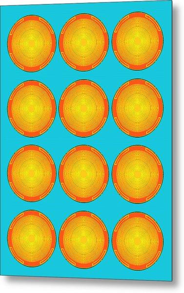 Bubbles Sky Orange Blue Warhol  By Robert R Metal Print