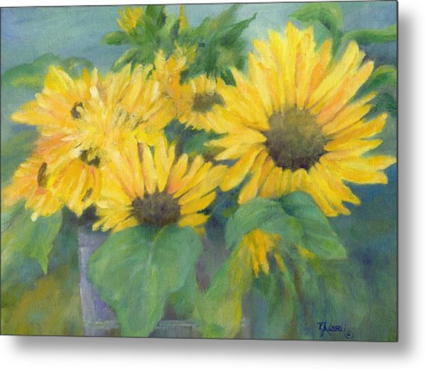 Bucket Of Sunflowers Colorful Original Painting Sunflowers Sunflower Art K. Joann Russell Artist Metal Print