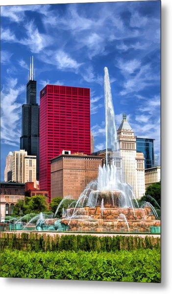 Buckingham Fountain Sears Tower Metal Print