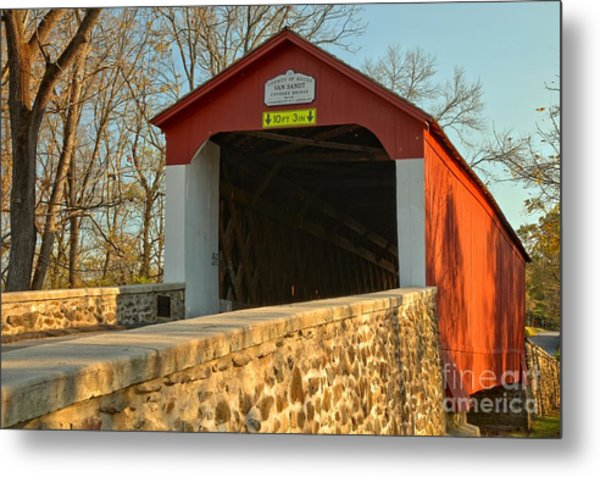 Bucks County Van Sant Covered Bridge Metal Print