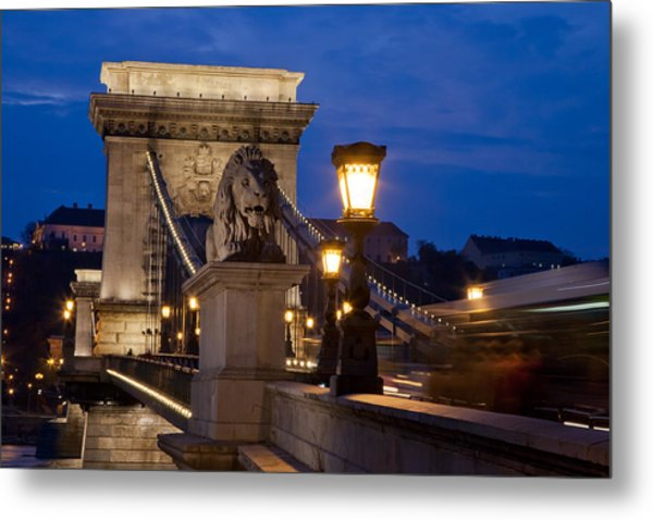 Budapest Bridge With Lion Metal Print