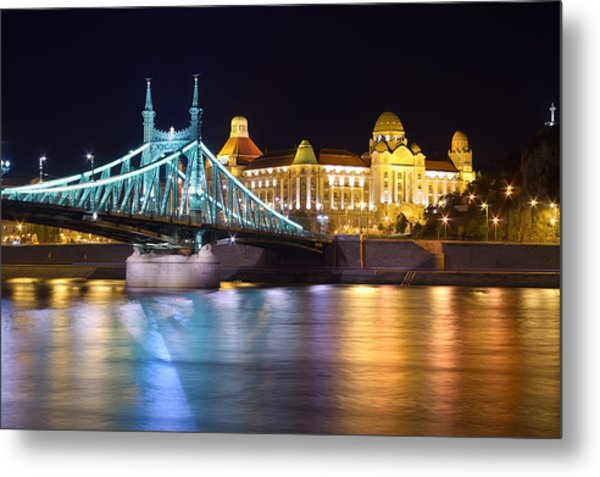 Budapest Night Bridge Metal Print by Ioan Panaite