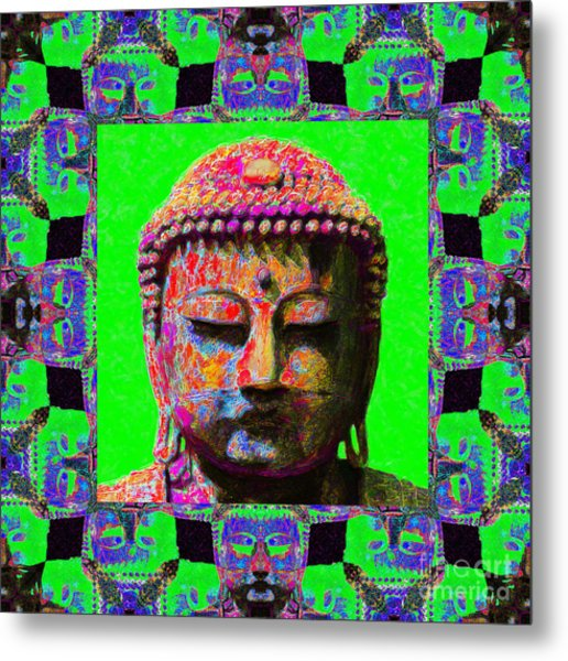 Buddha Abstract Window 20130130m180 Metal Print by Wingsdomain Art and Photography