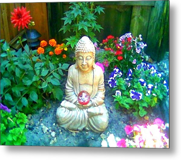 Backyard Buddha Metal Print
