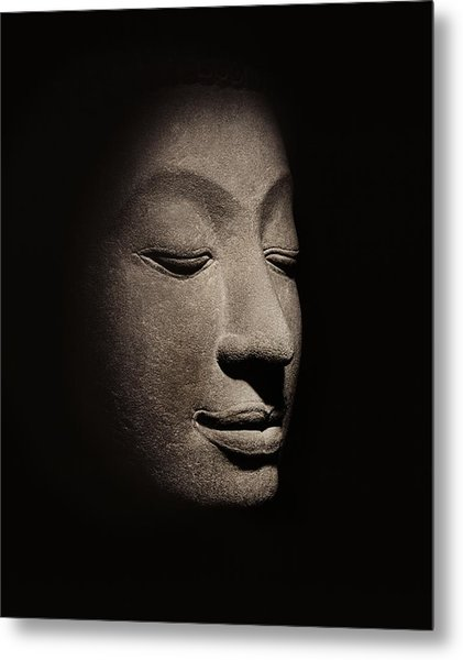 Buddha Head From The Early Ayutthaya Period Metal Print