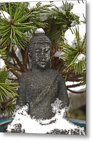 Buddha In The Snow Metal Print