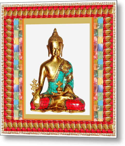 Buddha Sparkle Bronze Painted N Jewel Border Deco Navinjoshi  Rights Managed Images Graphic Design I Metal Print