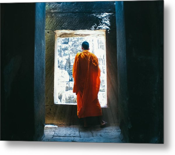 Buddhist Monk In Bayon Temple Angkor Wat Metal Print by Leander Nardin