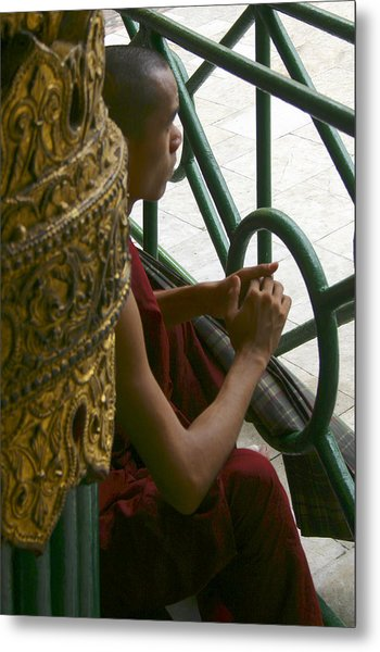 Buddhist Monk Leaning Against A Pillar Sule Pagoda Central Yangon Myanar Metal Print by PIXELS  XPOSED Ralph A Ledergerber Photography