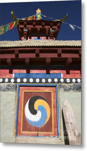 Buddhist Symbol On Chorten - Tibet Metal Print