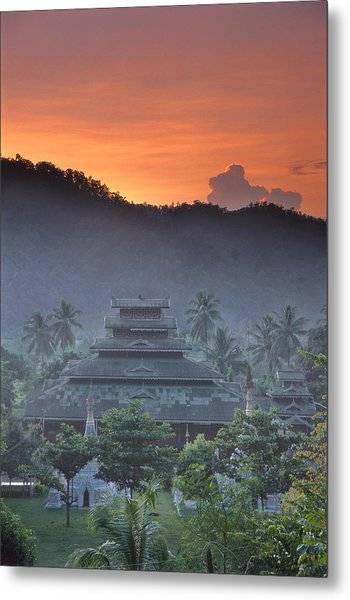 Buddhist Temple At Sunset Metal Print by Richard Berry
