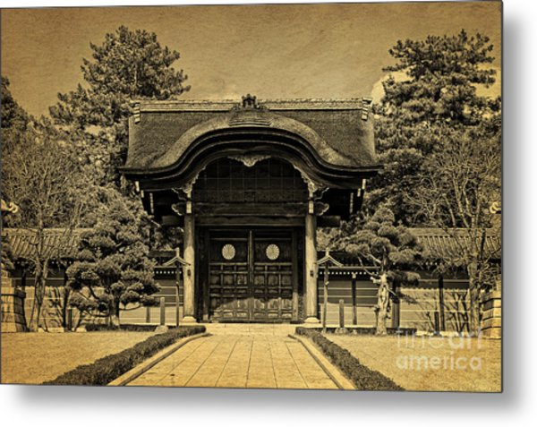 Buddhist Temple Gate In Early Spring Metal Print