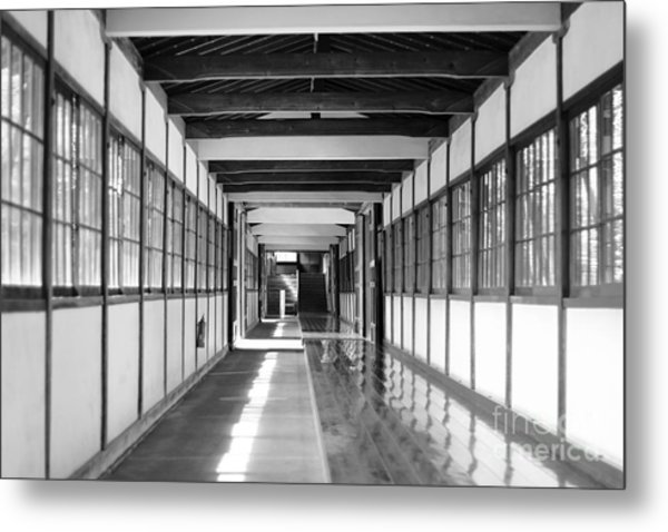 Buddhist Temple In Black And White - Passageway Metal Print
