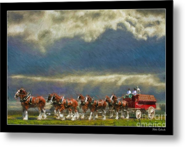 Budweiser Clydesdale Paint 2 Metal Print