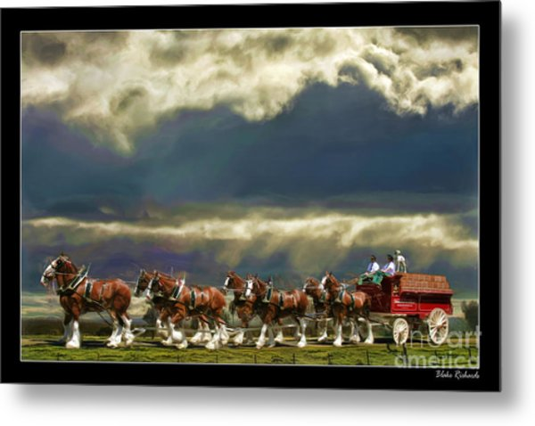 Budweiser Clydesdales Paint 1 Metal Print