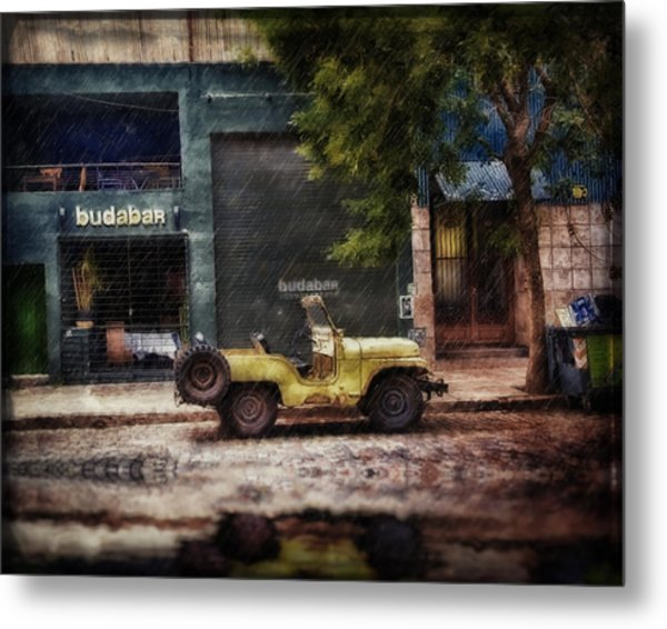 Buenos Aires Jeep Under The Rain Metal Print