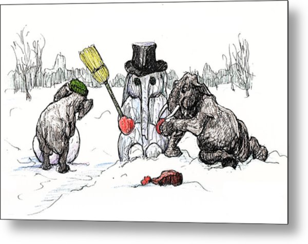 Building A Snow Elephant Metal Print