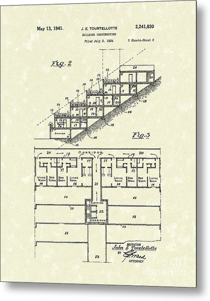 Building Construction 1941 Patent Art Metal Print by Prior Art Design