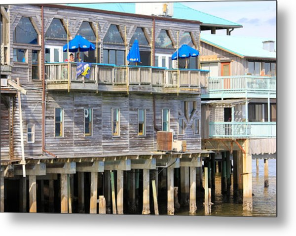 Building On Piles Above Water Metal Print