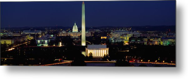Buildings Lit Up At Night, Washington Metal Print
