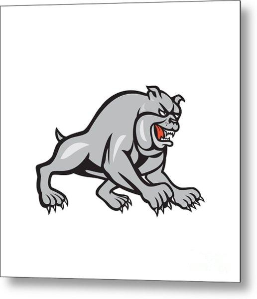 Bulldog Dog Mongrel Prowling Cartoon Metal Print by Aloysius Patrimonio