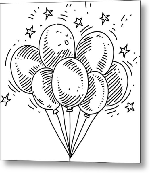 Bunch Of Balloons Drawing Metal Print by LEOcrafts