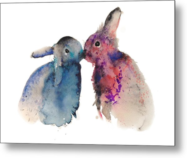 Bunnies In Love Metal Print