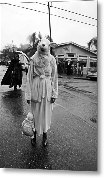Bunny Head In The Rain On Mardi Gras Day Metal Print
