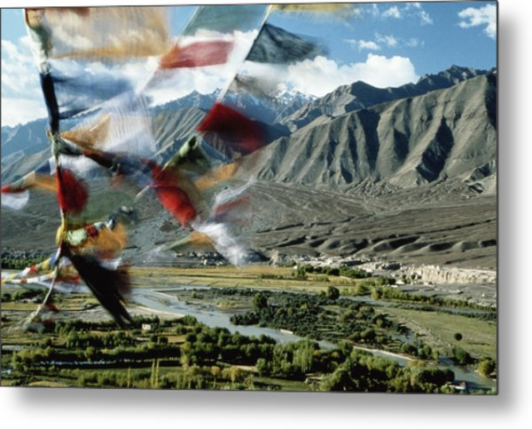 Bunting Flying In Sky With Kunlun Metal Print