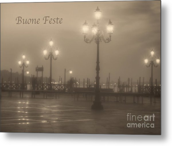 Buone Feste With Venice Lights Metal Print