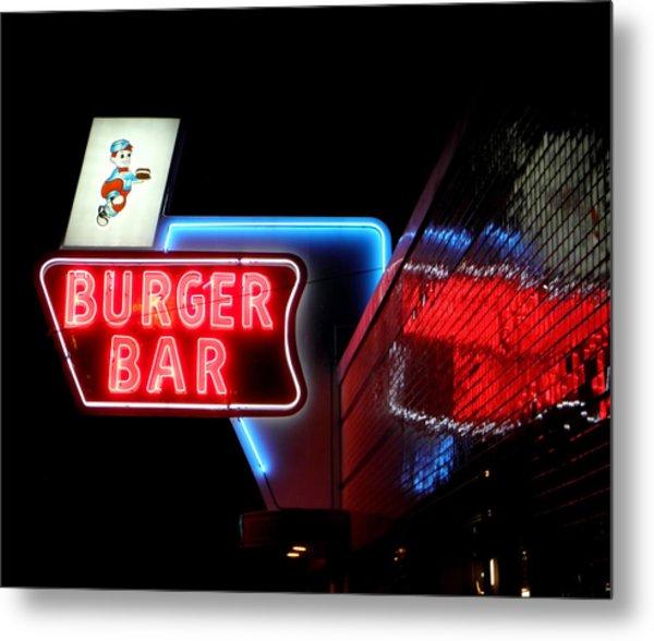 Burger Bar Neon Diner Sign At Night Metal Print