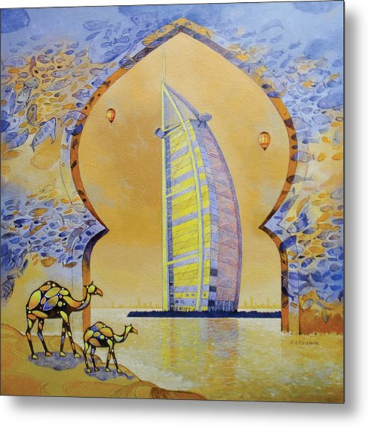 Burj Al Arab And Camels Metal Print