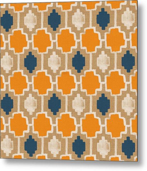 Burlap Blue And Orange Design Metal Print