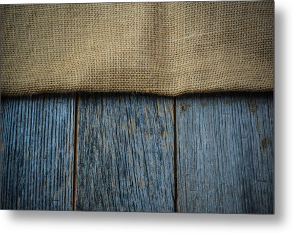 Burlap Texture On Wooden Table Background Metal Print