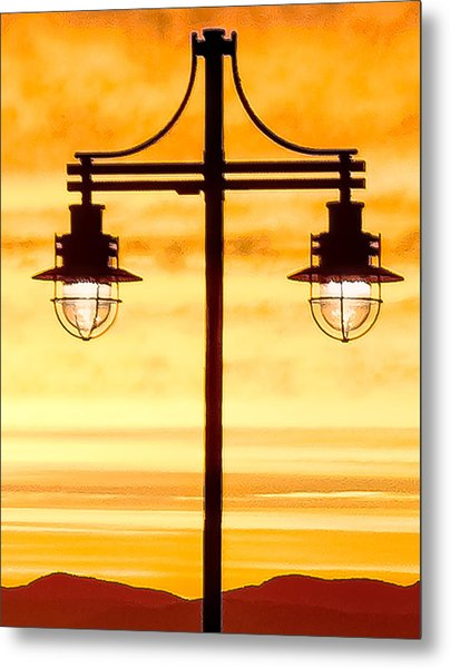Burlington Dock Lights Metal Print