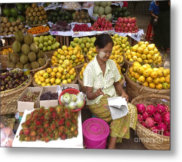 Burmese Lady Selling Colourful Fresh Fruit Zay Cho Street Market 27th Street Mandalay Burma Metal Print
